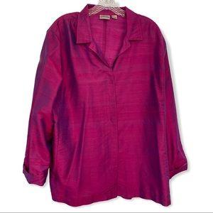 Chico's 100% Silk Button Down Blouse, Fuchsia XL